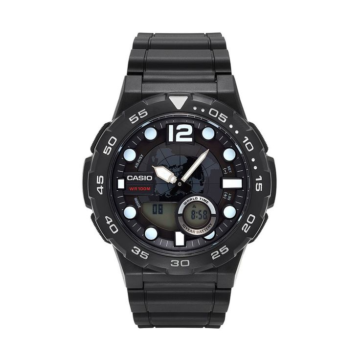 Casio Men's Telememo World Time Analog-Digital Watch - AEQ100W-1AVCF, Black