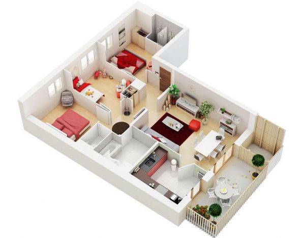 A three person family who wants the flexibility of the guest room would be perfectly suited to this layout, which also has space for a lovely private patio.