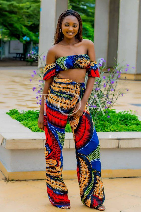 780890d54e0223 Ankara Two-piece for Summer, The Chingola Set, Crop top and Maxi Pants Set  for summer