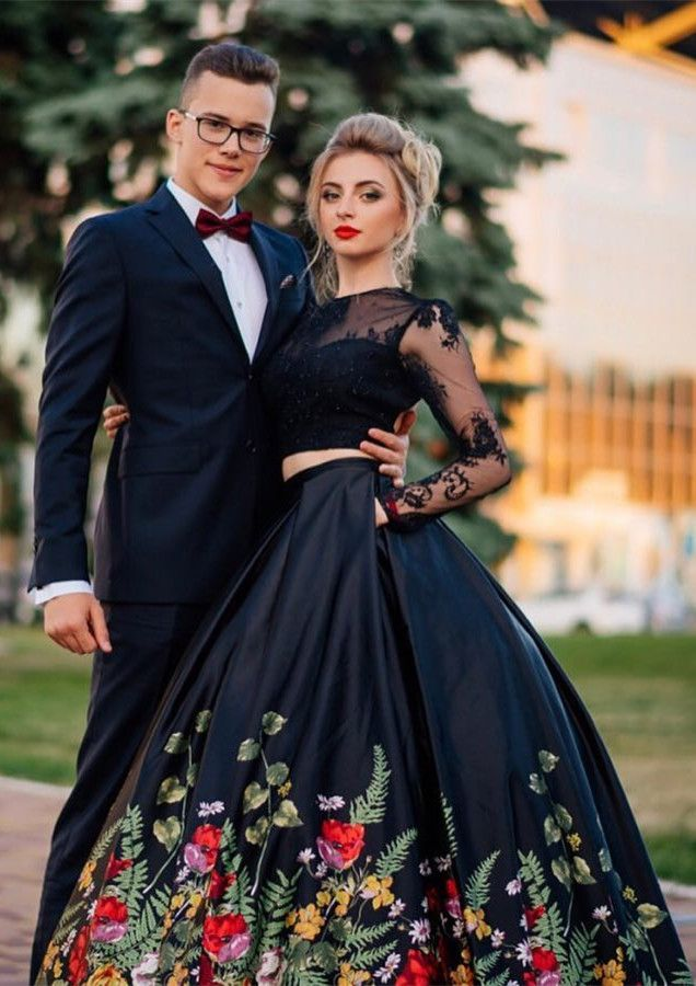 7fe7425d63f4 two piece black long sleeves prom dress