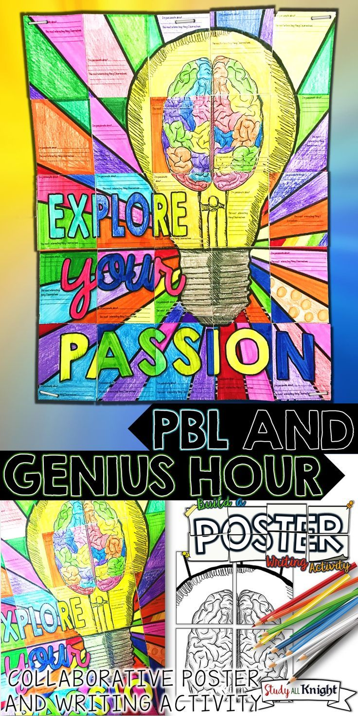 GENIUS HOUR AND PBL ACTIVITY COLLABORATIVE POSTER WITH WRITING PROMPT | Collaboration for Genius Hour and Project Based Learning is fun with this poster for your inquiry, discovery, STEM, and PBL lessons. Teachers will receive 3 size options to use for this Genius Hour writing activity poster. The light bulb and brain image is unique and you won't find it anywhere else. It will bring cheer to any personalized learning experience or passion project. | All Subjects