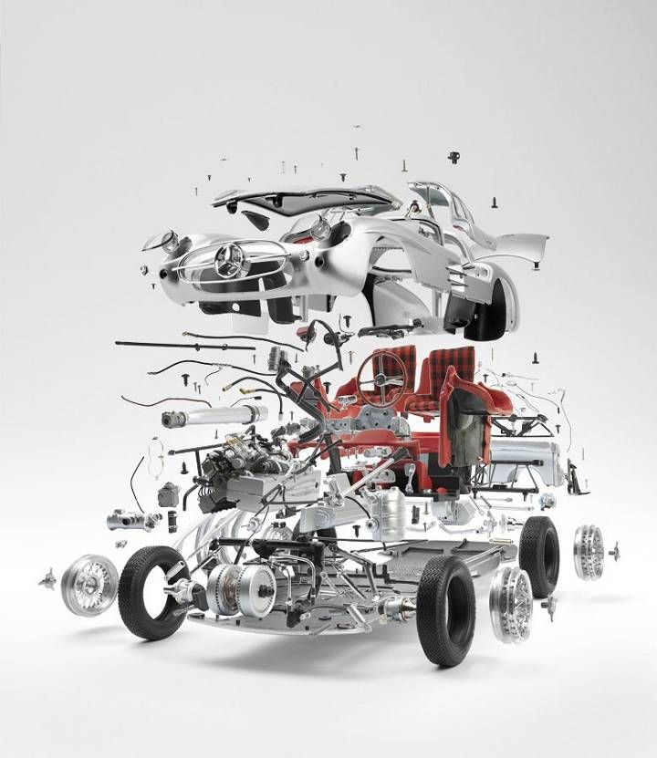 exploded view mercedes sls300