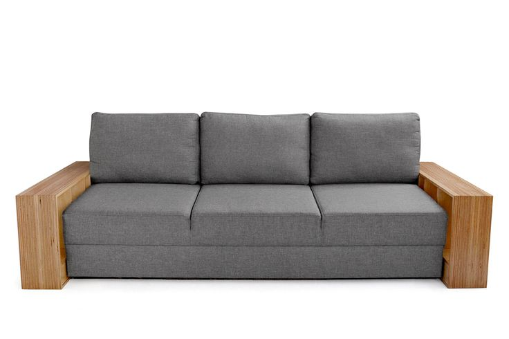 MATERIALS AND TECHNOLOGY: Sofa with woven fabric cover, available in six colours ; DL opening system, dimensions when open: 140x200cm; armrest made of numerically cut birch plywood, hand finished and sealed, exterior planes of armrests show plywood structural section.