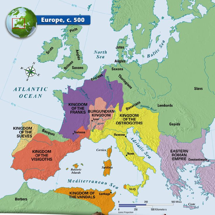 Europe, c. 500 Scots in Eire and only 5 cities of note, Ravenna, Rome, Lyon, Constantinople, and Toulouse.