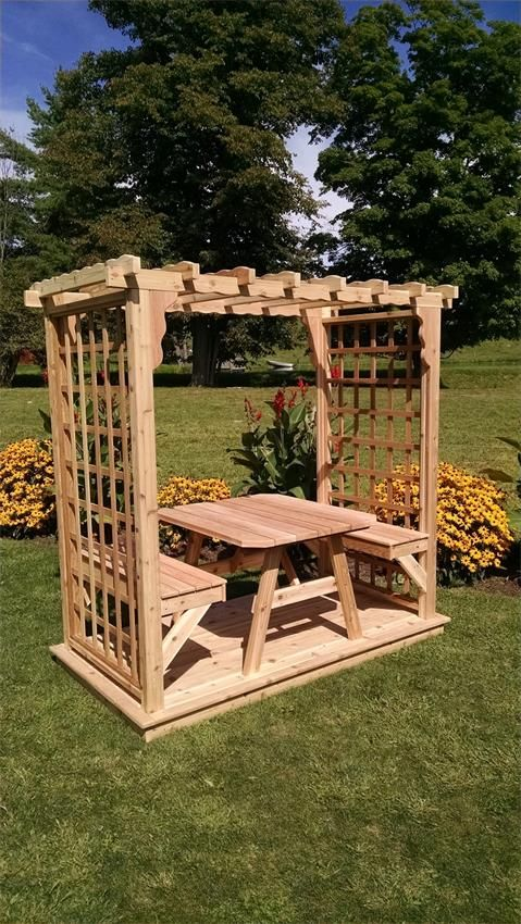 Amish Cedar Wood Lexington Outdoor Arbor with Deck, Benches and Table