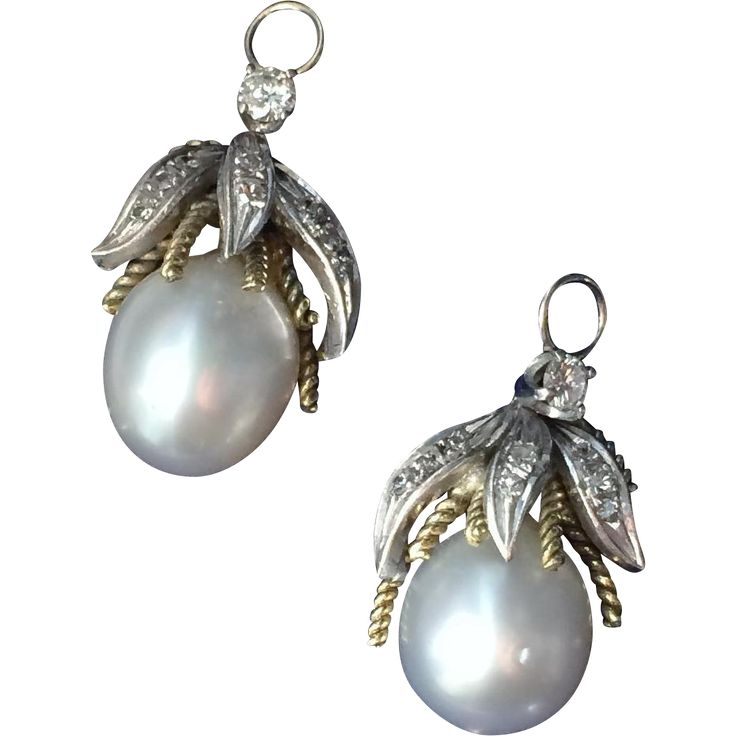A pair of South Sea Pearl & Diamond Pendant Earrings 1930-40's