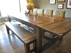 farmhouse table... DIY @Pat Martin I think this is a do-able project for you/us (: It's beautiful and I Love the bench seat!