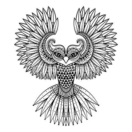 Vectores ornamental buho, mascota de la zentangled étnica, amuleto, máscara de — Vector de stock