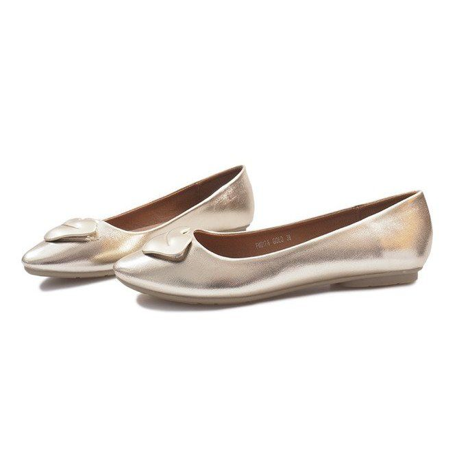 Zlote Balerinki Z Ustami Mouth Zloty Ballerina Artificial Leather Ballerina Shoes