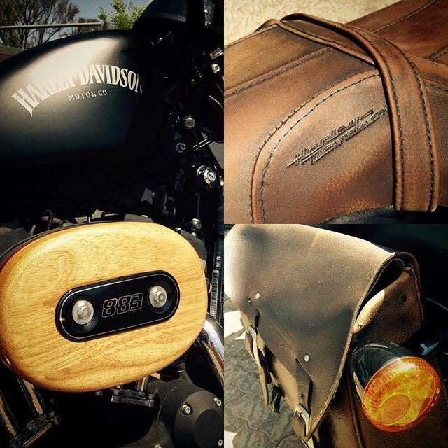 """Maintenance plan: My 2012 @harleydavidson #Iron #883 #Dark #Custom looking better than ever. Hand-made air filter cover in Rubber #wood and Burmese Teak. """"Badlander"""" distressed #leather saddle. Re-positioned distressed leather swing-arm bag. """"Black """"Denim"""" finish. #DIY"""