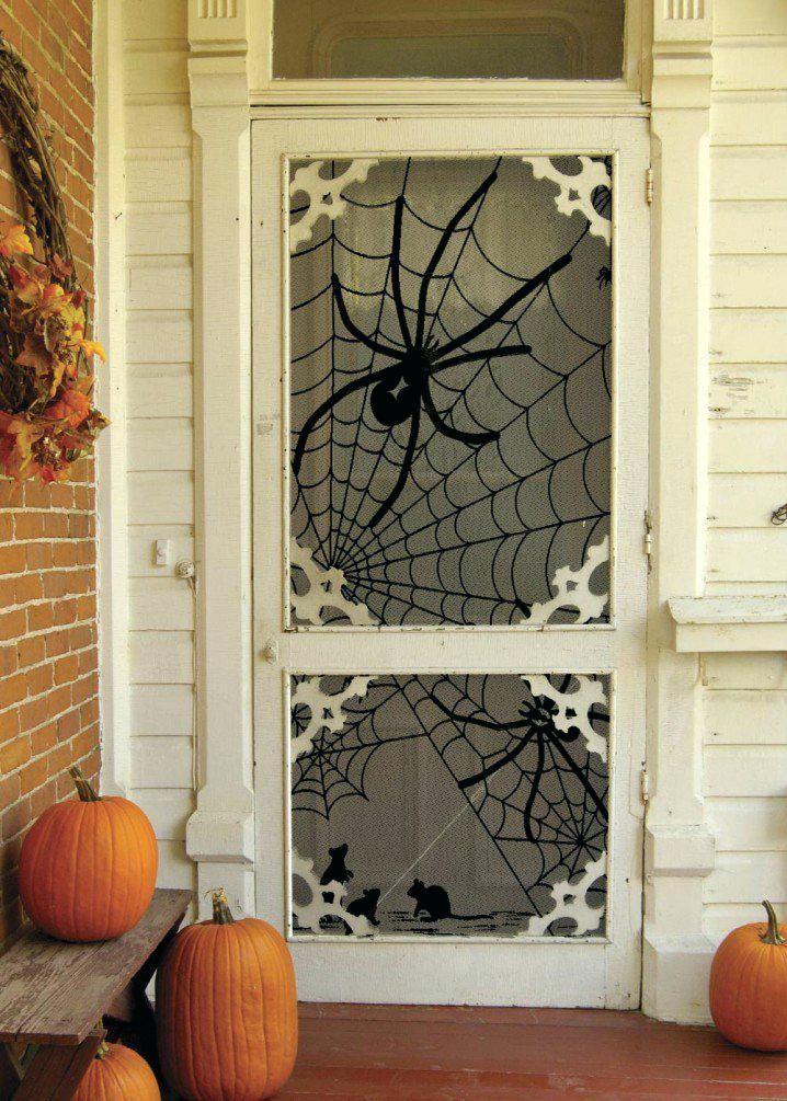 Front Porch Halloween Decorations Spider Net Door Via Simple - halloween homemade decoration ideas