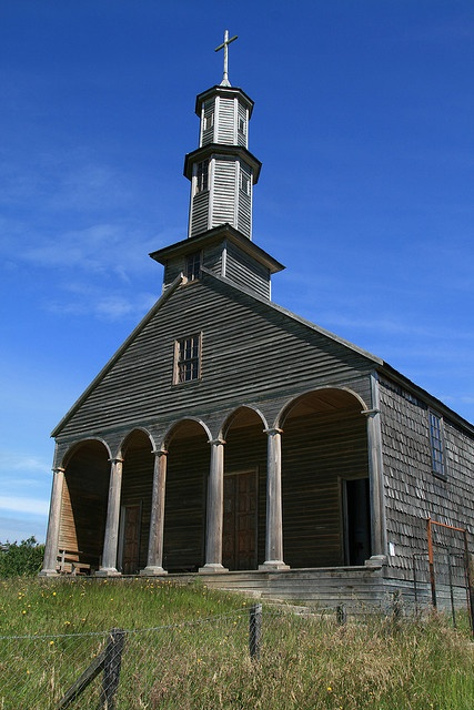 The UNESCO World Heritage listed wooden church in Vilupulli - Chiloé, Chile.