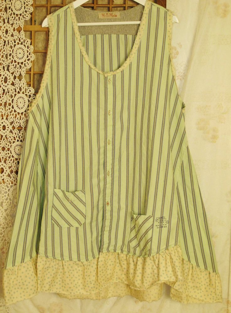 Dreaming spring green...Plus size upcycled cotton tunic/top. €49.00, via Etsy.