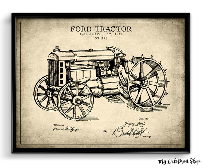 Patent Prints Ford Tractor, Farmhouse Decor, Farmer Gift, Gift for Farmer, Tractor Print, Bedroom Decor, Home Decor, Print, Poster, Wall Art by My Little Print Shop, $8.15 CAD