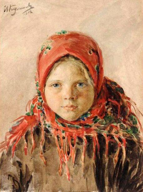 Russian Girl by Ivan Kulikov (1875-1941)