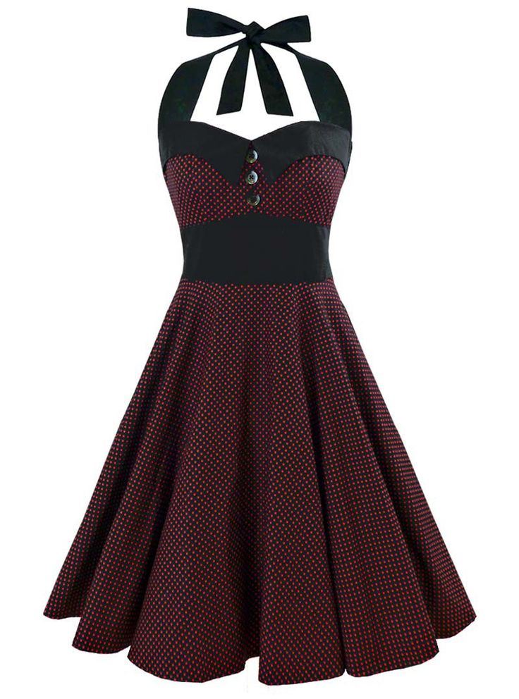 "Robe Vintage Rockabilly Rock Ange'Hell ""Ashley Black Red mini polka dots"" - rockangehell.com"
