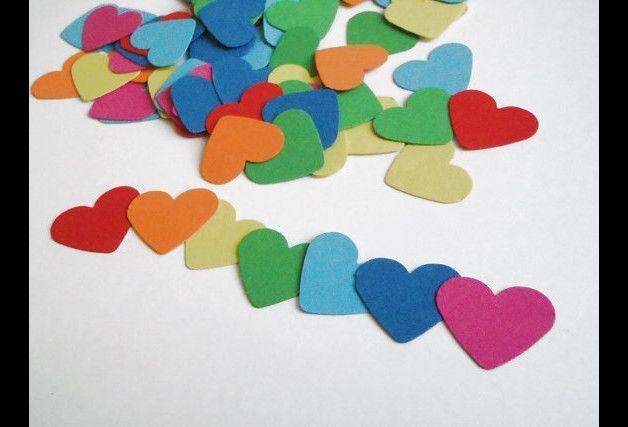 Decorazioni - 93 cuori arcobaleno coriandoli nozze matrimonio - un prodotto unico di LaSoffittaDiSte su DaWanda