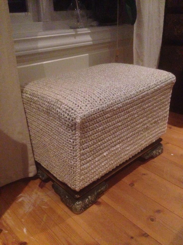 "Old bed-ottoman like new. Crochet of ""left-overs"" yarn."