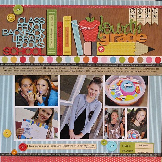 multiple photo layout idea plus cute school-themed layout. kerri bradford studio