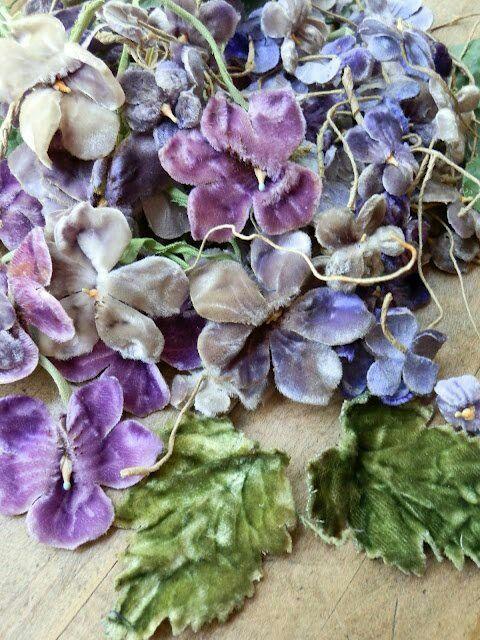 Vintage velvet millinery violets