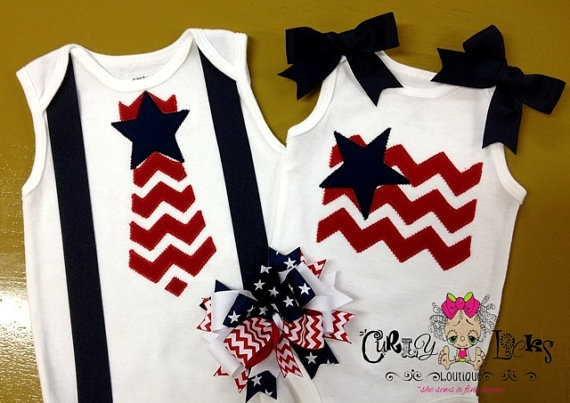 July 4th Outfits - Custom Boutique TWIN PACK   Chevron Tie Star by CurlyLockBoutique, $55.00