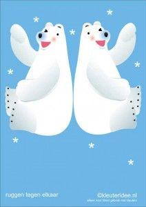 Bewegingskaarten ijsbeer voor kleuters 10 , ruggen tegen elkaar aan , kleuteridee.nl, thema Noorpool, Movementcards for preschool,  free pri...