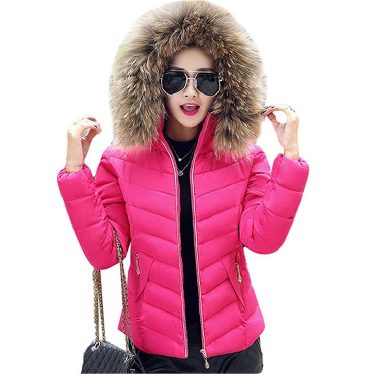 29.96$  Watch here - http://dij95.justgood.pw/ali/go.php?t=32759639756 - TOP Quality Large Fur 2016 Winter Jacket Women Big Fur Collar Hooded Thick Down Coat For Women Winter coat female Parka AA256