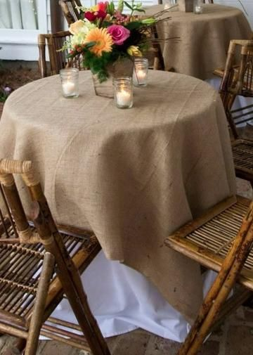 """Burlap Tablecloth Overlay in Natural<br>60"""" Square"""