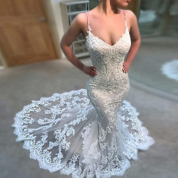 New Arrival Mermaid Lace Appliques Backless Sexy Beach Wedding Dress, Spaghetti Straps, WD0350