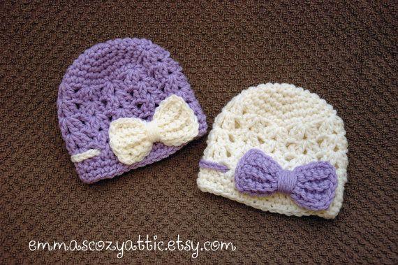 Pasgeboren meisje hoed meisje babymutsje van emmascozyattic op Etsy