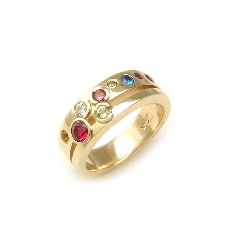 Yellow Gold Split Shank Birthstone Family Ring