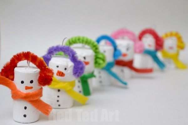 Rainbow Snowman Ornaments - easy to make, bright, colourful and cheerful. My kids ADORE them.