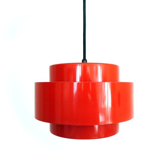 JUNO pendant light, designed by Jo Hammerborg in 1969 for Fog & Mørup.    Gorgeous red, space age pendant. Made up of two inner rings