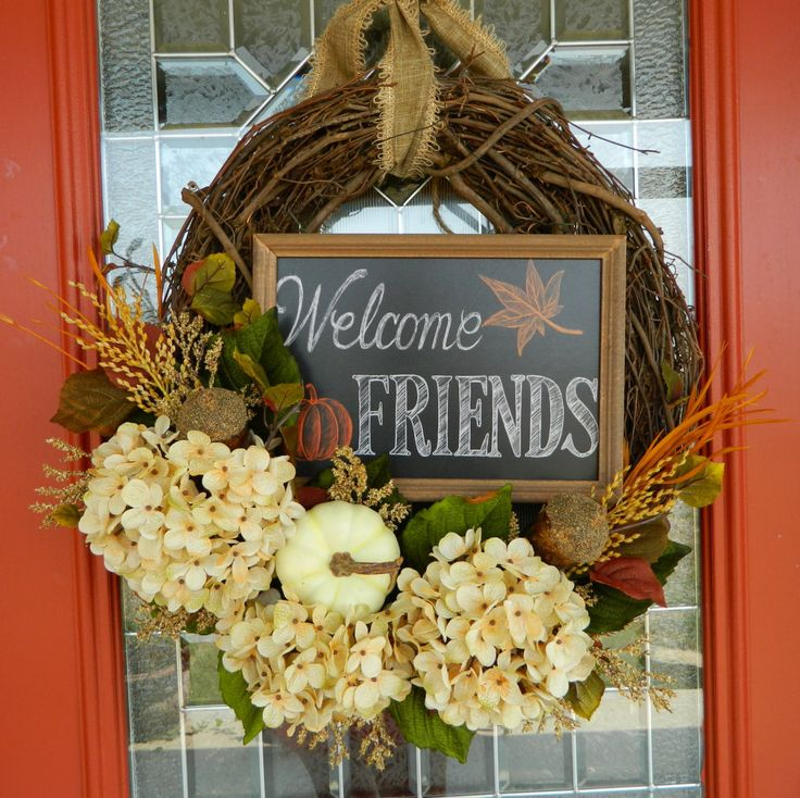 Elegant Fall wreath with welcoming chalkboard sign! by RedeemedCustomDesign on Etsy