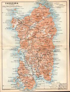 1908 Sardegna Antique Map Sardinia Sardigna by Craftissimo on Etsy, €16.95