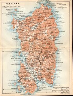1908 Sardegna Antique Map Sardinia Sardigna by Craftissimo on Etsy, €16.95