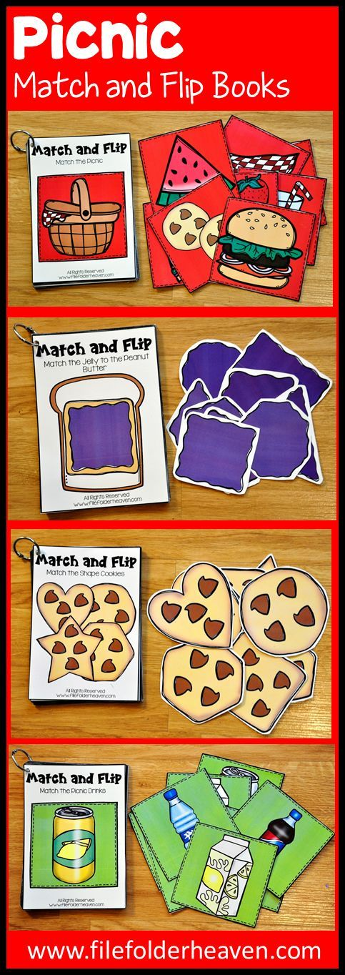 These Matching Activities: Picnic Match and Flip Books focus on basic matching skills. In these activities students work on matching picture to picture (exact match) and matching by shape.