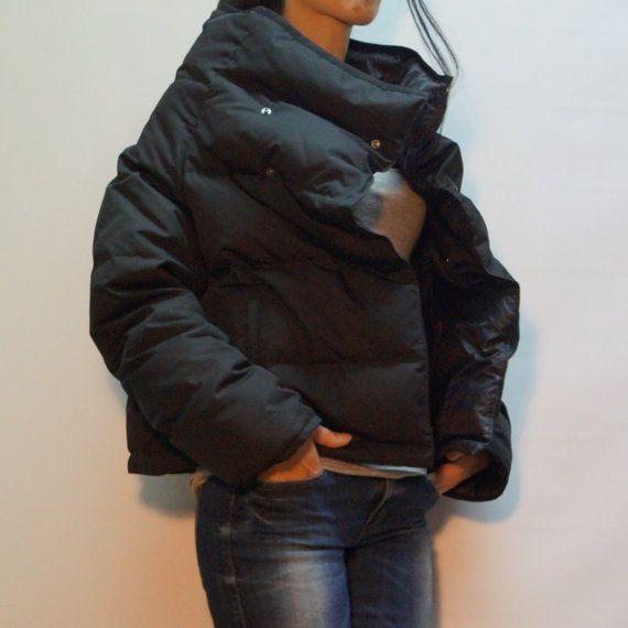 Black quilted Jacket/Windproof Jacket/Black Warm by FloAtelier