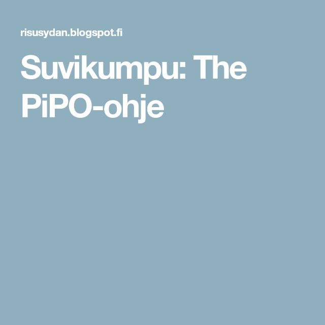 Suvikumpu: The PiPO-ohje
