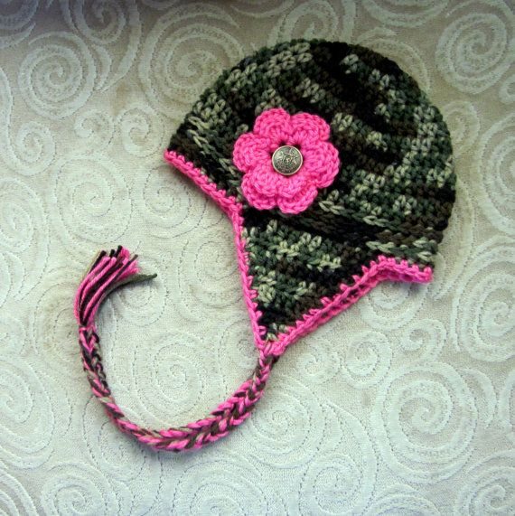 Camouflage Camo and Pink Baby Girls Ear flap Hat by vbirschbach, $20.00