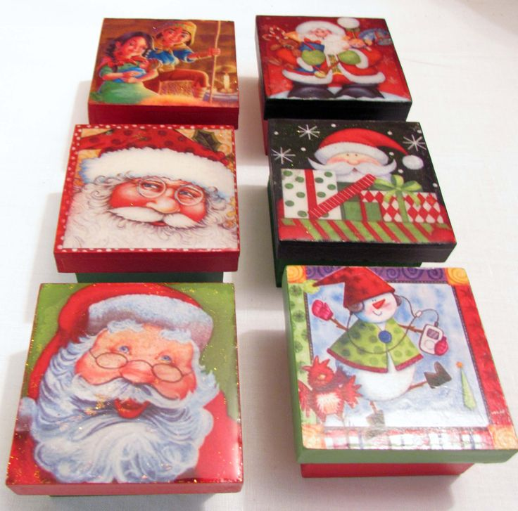 Cajitas decorativas de Navidad en MDF con cubierta de resina
