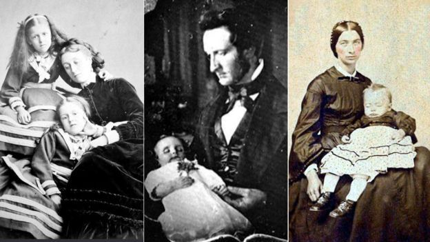 Two girls pose with their dead mother, while a Victorian father mourns his baby. The woman on the right's cheeks have been tinted while her deceased toddler remains pale