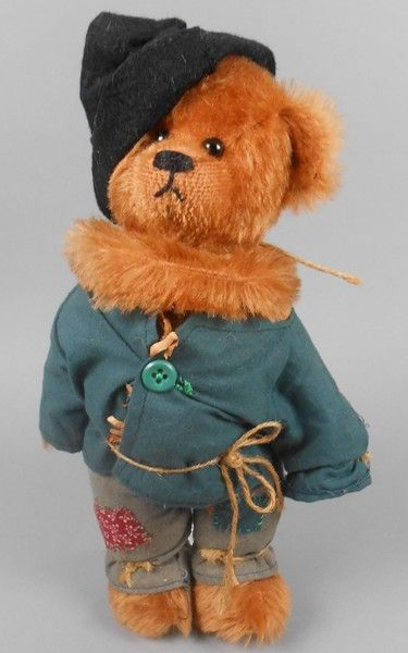 """Adopt a Bear todayScarecrow by: Bear Mama 11"""" fully jointed mohair bear, poly stuffed Patched shirt and pants, black felt hat. Original sewn in tag across footpad."""