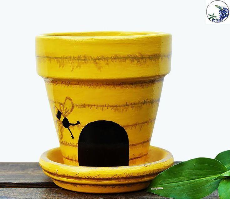 Painted Bee Hive Flower Pot Yellow Terracotta Planter Potsetc Bloempot Bloempotten Schilderen Tuin Decoratie