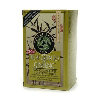 Triple Leaf Tea Naturally Decaffeinated Green Tea with Ginseng