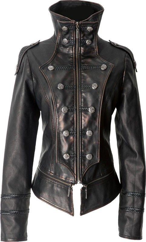 Gothic leather-look uniform jacket by Punk Rave