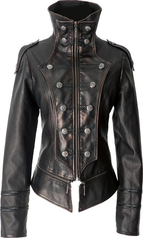 Leather-look uniform jacket by Punk Rave