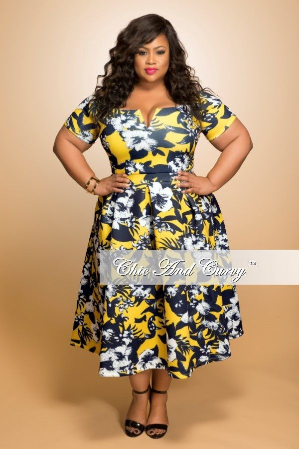 New Plus Size Dress with V-Neck in Yellow, White and Navy Floral Print – Chic And Curvy