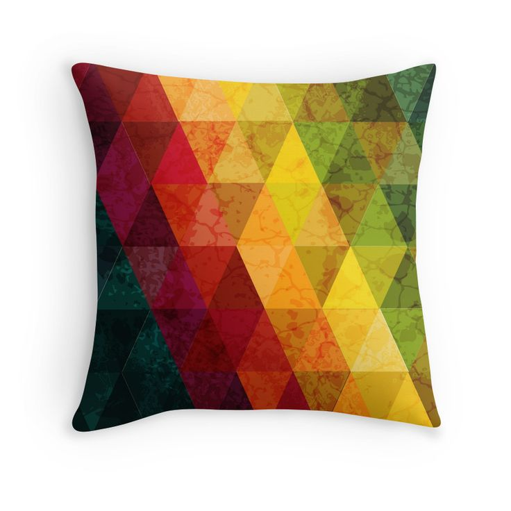 """""""Colorful abstract geometric background with triangular polygons."""" Throw Pillows by smotrivnebo   Redbubble"""