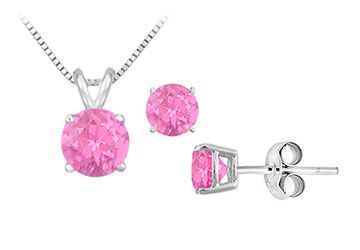 Created Pink Sapphire Solitaire Pendant with Earrings Set in Sterling Silver 2.00 CT TGW